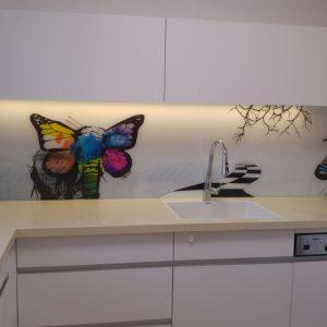 חיפוי קיר זכוכית הדפסה פרפר זברה